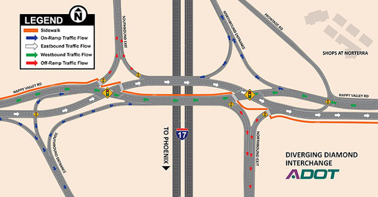 Diverging Diamond Interchange To Open Soon At I-17, Happy Valley Road