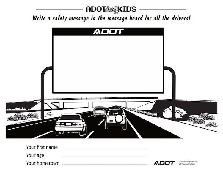 ADOT Kids Activity: Create Your Own Safety Message!