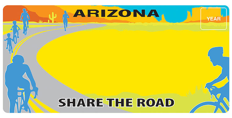 New Arizona License Plate Promotes Motorist and Cyclist Safety