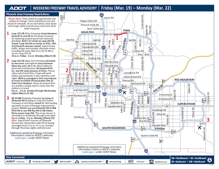 March 19-22 – Weekend Freeway Travel Advisory