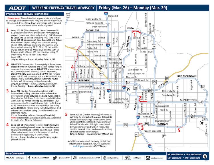 March 26-29 - ADOT's Weekend Freeway Travel Advisory