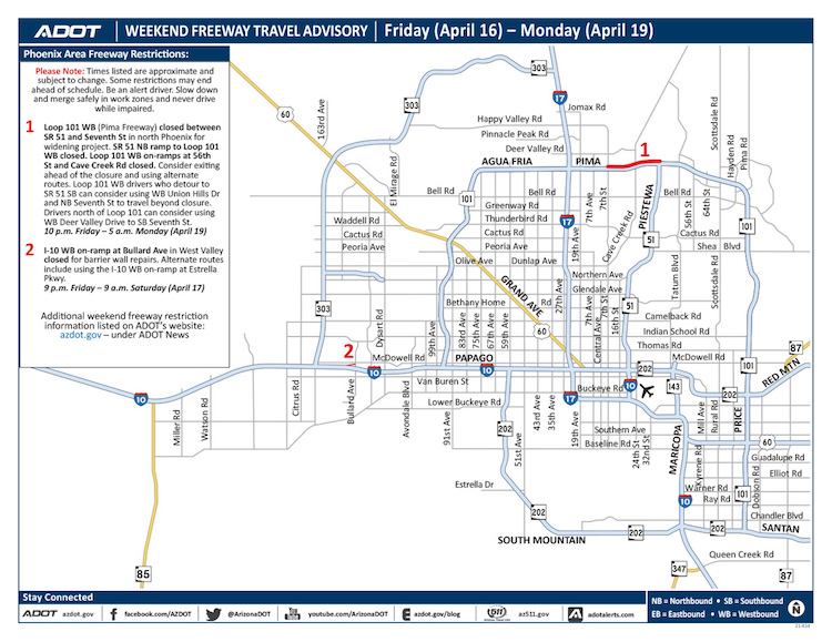 ADOT's Weekend Freeway Travel Advisory: April 16-19
