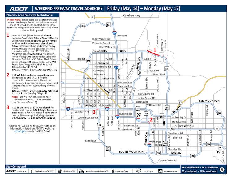 ADOT's Weekend Freeway Travel Advisory: May 14-17