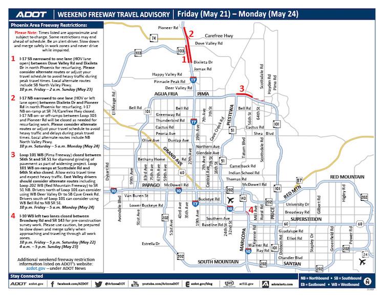 ADOT's Weekend Freeway Travel Advisory – May 21-24
