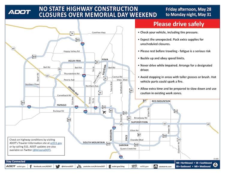 No Scheduled Highway Closures Over Memorial Day Weekend