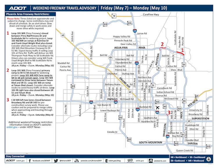ADOT's Weekend Freeway Travel Advisory: May 7-10