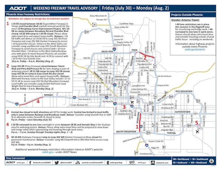 ADOT's Weekend Freeway Travel Advisory: July 30-Aug. 2
