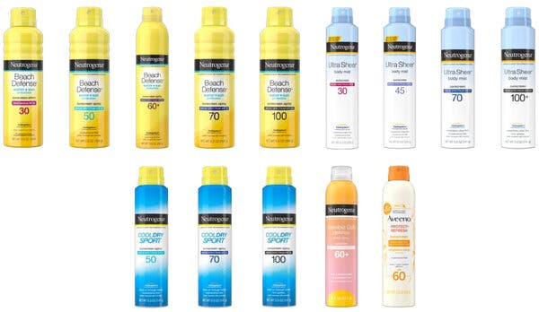 Neutrogena and Aveeno Spray Sunscreens Recalled Due to Traces of Cancer-Causing Chemical