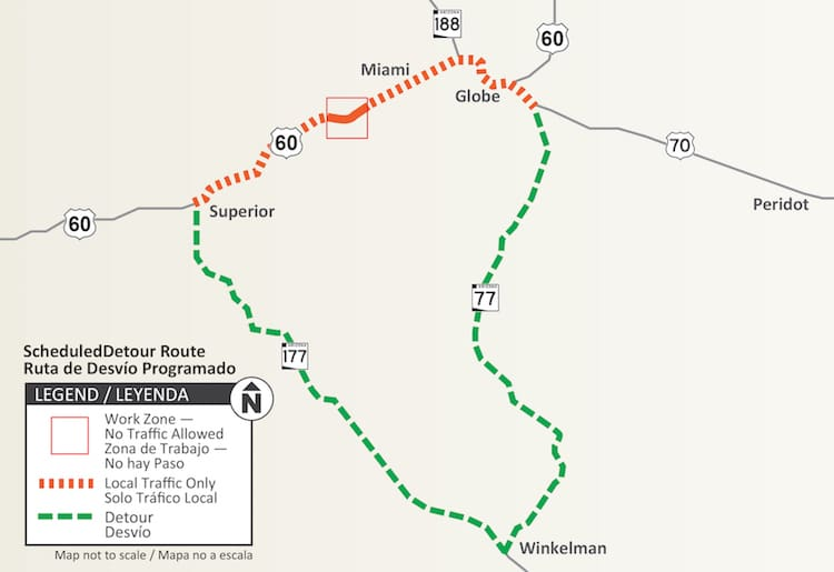 Part of Highway 60 To Be Closed in September Between Superior and Miami