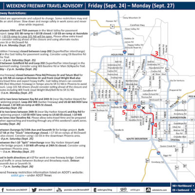 ADOT's Weekend Freeway Travel Advisory – September 24-27